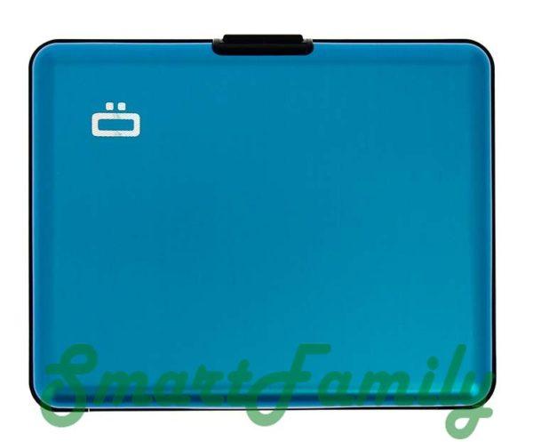 rfid кошелек голубой спереди