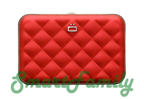 кошелек для кредиток с кнопкой Quilted красный