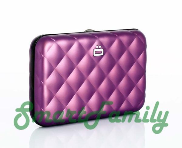 кошелек для кредиток с кнопкой Quilted пурпур